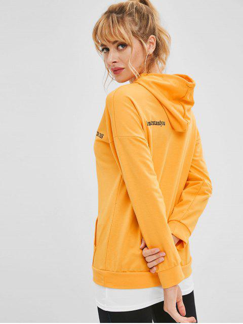 Sweat à capuche avec tunique graphique et épaule - Jaune d'Abeille XL Mobile