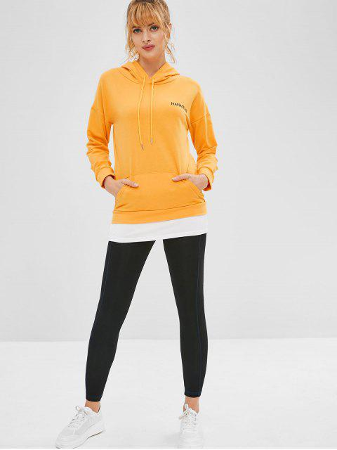 fashion Drop Shoulder Graphic Tunic Hoodie with Pocket - BEE YELLOW XL Mobile