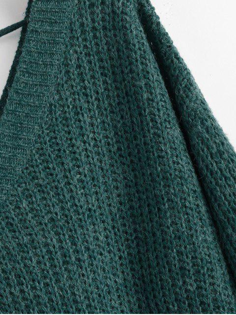 fashion Drop Shoulder V Neck Oversized Sweater - GREEN S Mobile