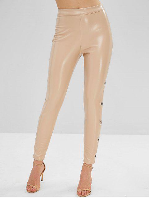 Pantalones de cuero de imitación lisos de ojal - Blanco Almendra M Mobile