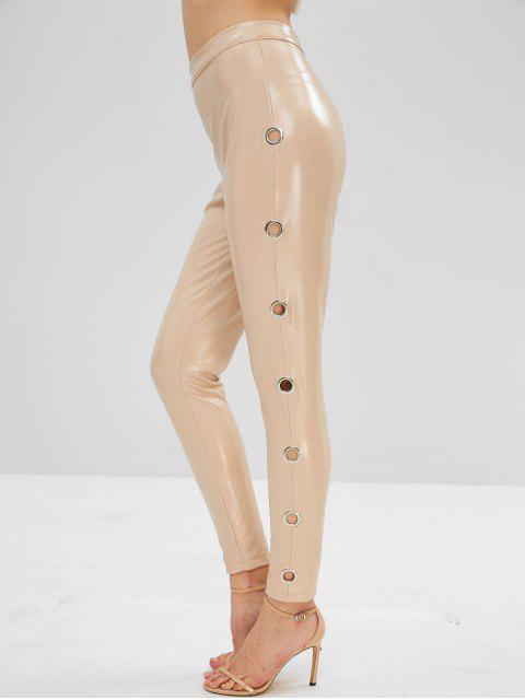 Pantalones de cuero de imitación lisos de ojal - Blanco Almendra L Mobile