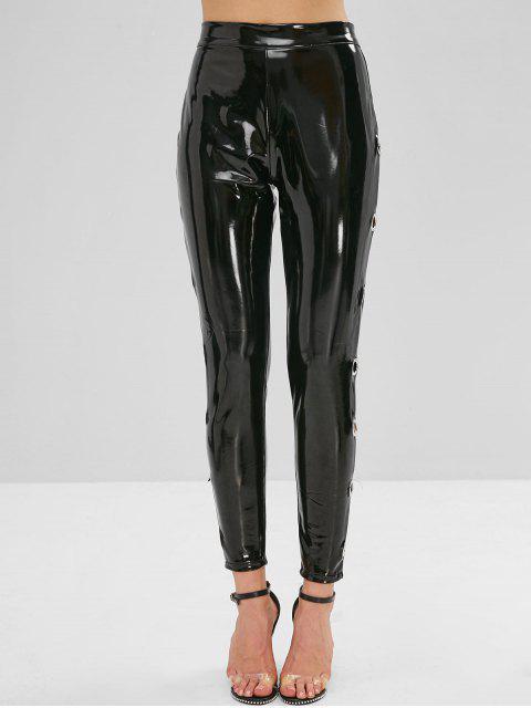 Pantalones de cuero de imitación lisos de ojal - Negro S Mobile