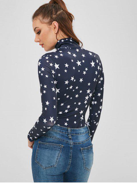 unique Star High Neck Bodysuit - DEEP BLUE M Mobile