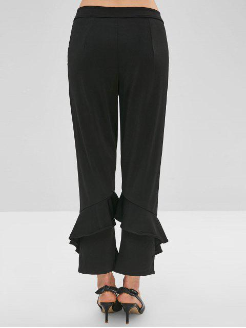 Pantalones de volantes rectos - Negro L Mobile