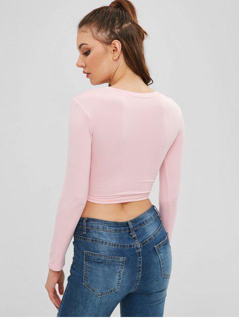 fashion Twisted Long Sleeve Crop T-shirt - SAKURA PINK L Mobile