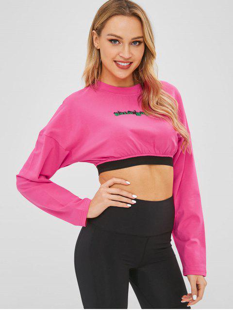 ドロップショルダーレターグラフィッククロップTシャツ - ローズレッド L Mobile