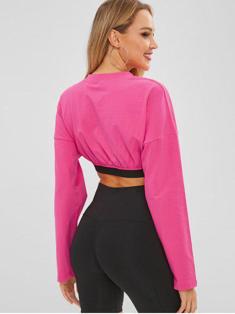 T-shirt Court à Goutte Epaule avec Lettre Graphique - Rouge Rose L Mobile