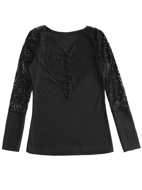 online Lace Panel Ribbed Top - BLACK M Mobile