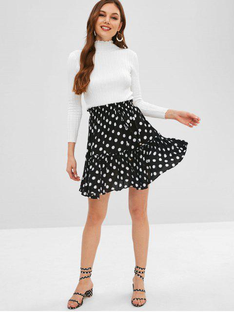 affordable A Line Polka Dot Mini Skater Skirt - BLACK M Mobile