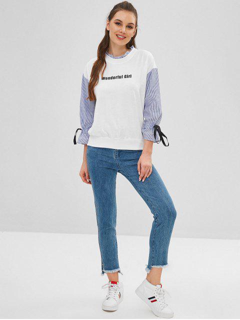 latest Stripe Panels Ruffled Graphic Sweatshirt - WHITE L Mobile