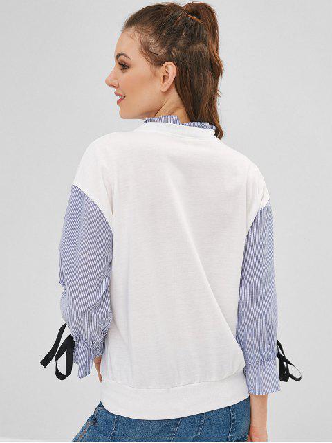 Sweat-shirt Graphique Panneau Rayé à Volants - Blanc L Mobile