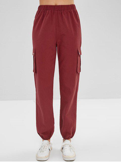 ladies Side Pocket High Waisted Pants - RED WINE L Mobile