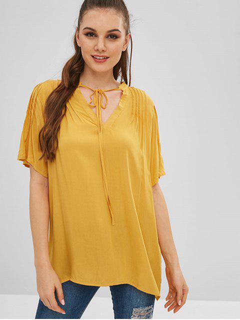 trendy Tie Pleated Tunic Blouse - YELLOW S Mobile