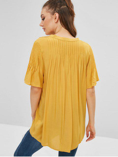 affordable Tie Pleated Tunic Blouse - YELLOW L Mobile