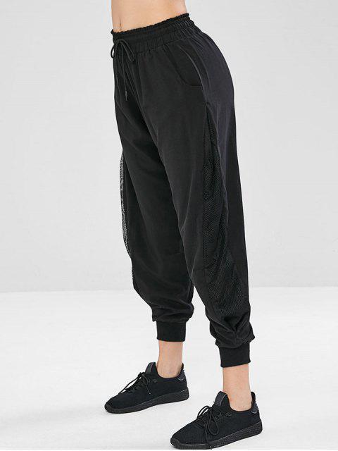 Pantalones de volantes con cordón de inserción de rejilla - Negro M Mobile