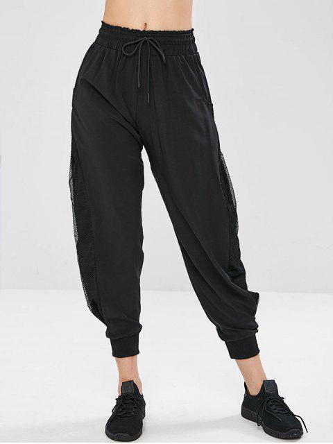 Pantalon en Résille Insérée à Volants à Cordon - Noir L Mobile