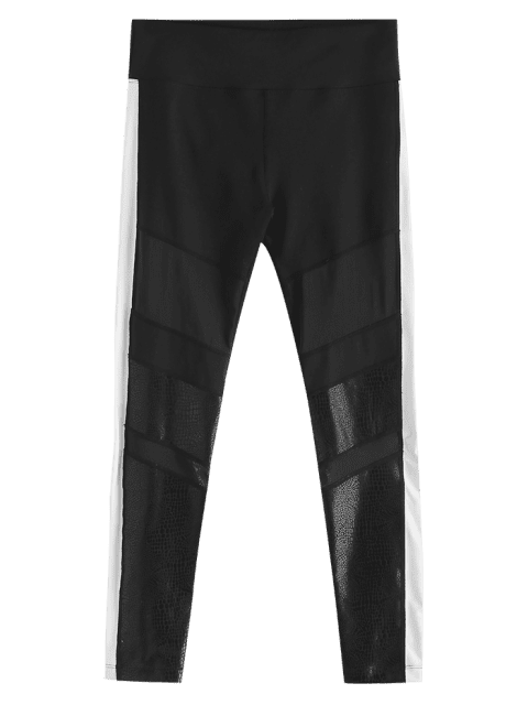 latest Color Block Mesh Insert Leggings - BLACK L Mobile