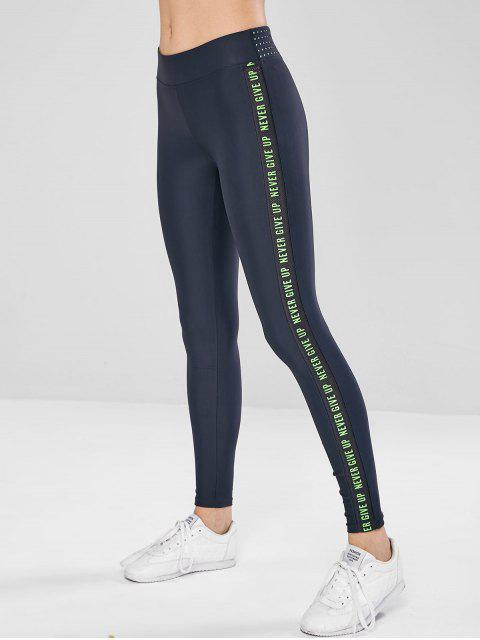 women's Letter Hollow Out Skinny Leggings - MULTI-A L Mobile