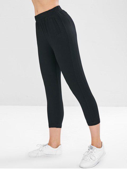 womens Sports Jogging Cropped  Pants - BLACK L Mobile