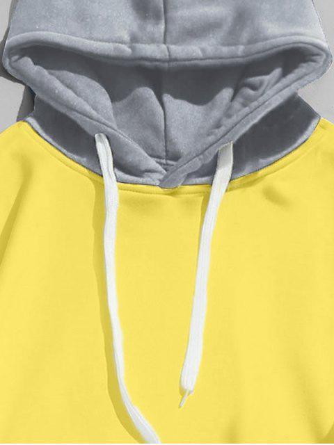 shop Drawstring Splicing Color Block Hoodie - YELLOW S Mobile