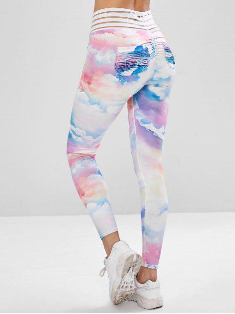 womens Cloud Tie Dye Sports Leggings - MULTI L Mobile