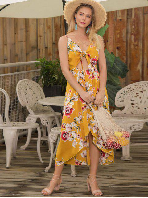 online Floral Cutout Cami Dress - YELLOW XL Mobile