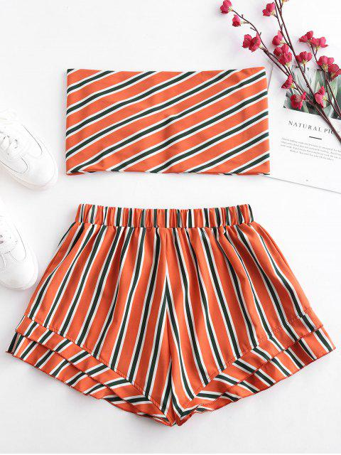 lady ZAFUL Stripes Tie Front Bandeau Top Set - PAPAYA ORANGE S Mobile