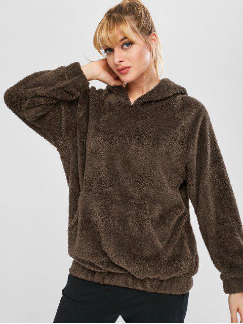 Fluffy Raglan Sleeve Teddy Hoodie - Café L Mobile