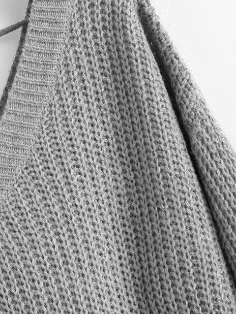 unique Drop Shoulder V Neck Oversized Sweater - LIGHT GRAY S Mobile