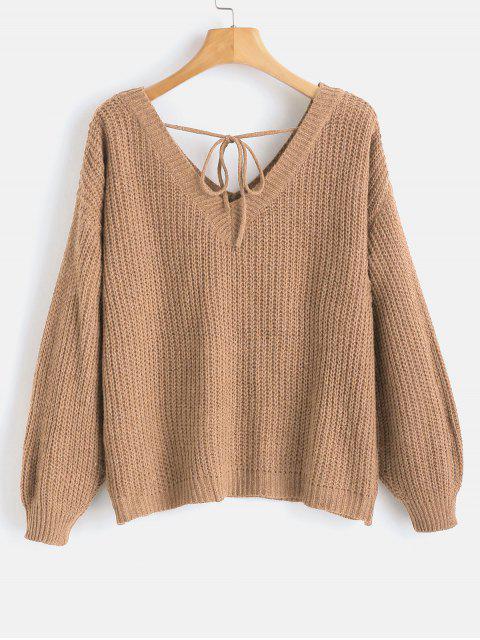 women's Drop Shoulder V Neck Oversized Sweater - CAMEL BROWN S Mobile