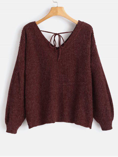 online Drop Shoulder V Neck Oversized Sweater - FIREBRICK M Mobile