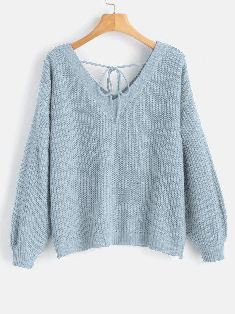 buy Drop Shoulder V Neck Oversized Sweater - LIGHT BLUE S Mobile
