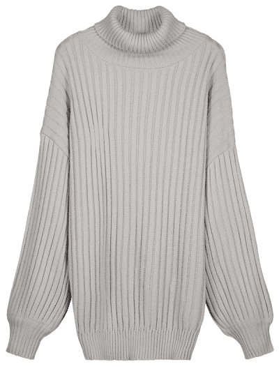 df9a8a9d215 ... Drop Shoulder Turtleneck Sweater Dress - Gray Cloud