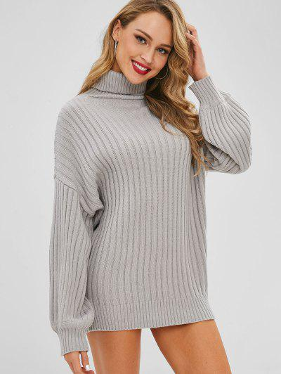 Drop Shoulder Turtleneck Sweater Dress - Gray Cloud