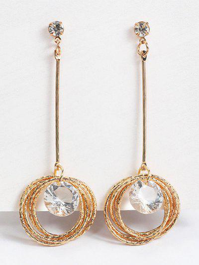 Sparkling Rhinestone Layered Hoops Drop Earrings - Gold