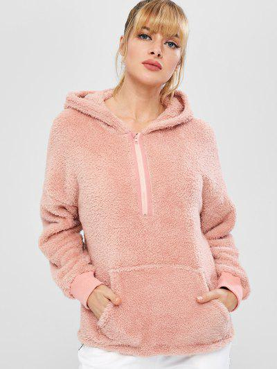 ZAFUL Fluffy Half Zipper Pocket Teddy Hoodie - Pink M