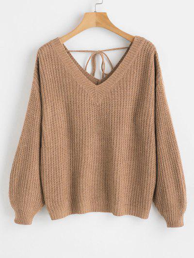 099b6509874 51%OFF V Neck Drop Shoulder Oversized Sweater - Camel Brown L