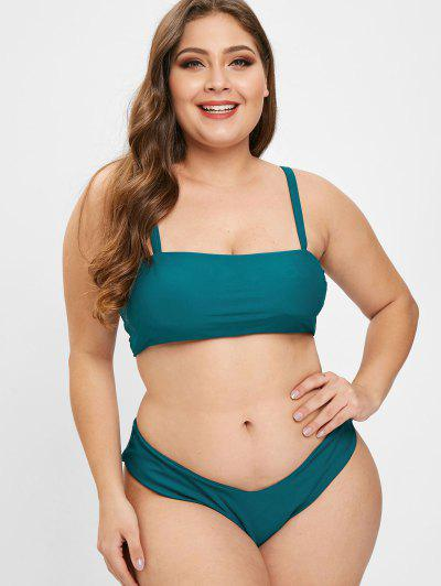 2832c94f32 ZAFUL Lattice High Leg Plus Size Bikini Set - Dark Green - Dark Green 1x ...