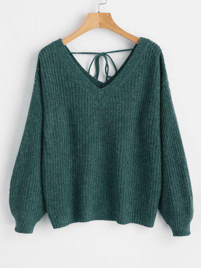 4a98e833247d V Neck Drop Shoulder Oversized Sweater - Green S ...