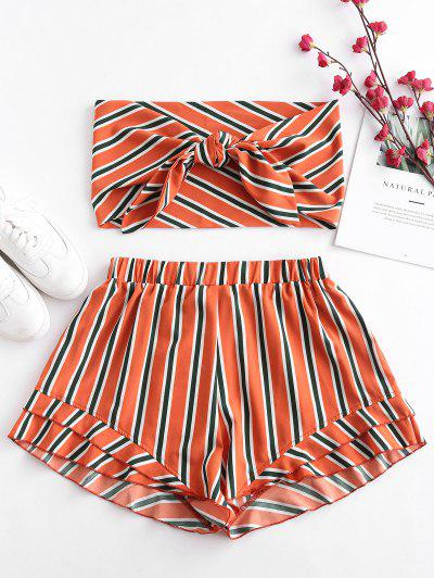 ZAFUL Stripes Tie Front Bandeau Top Set - Papaya Orange S