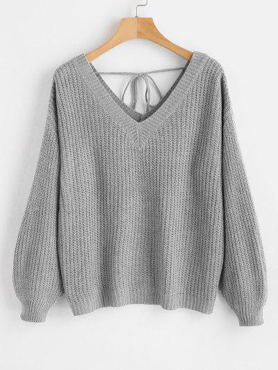 Drop Shoulder V Neck Oversized Sweater - Light Gray M