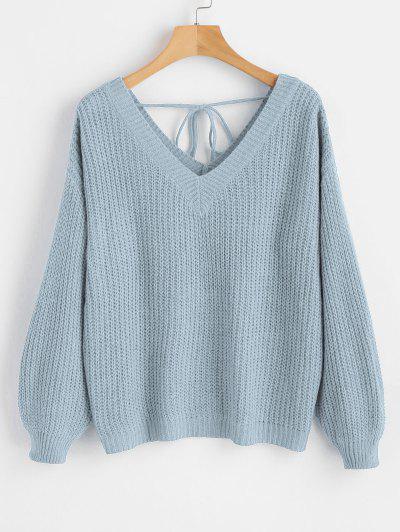 Drop Shoulder V Neck Oversized Sweater - Light Blue L