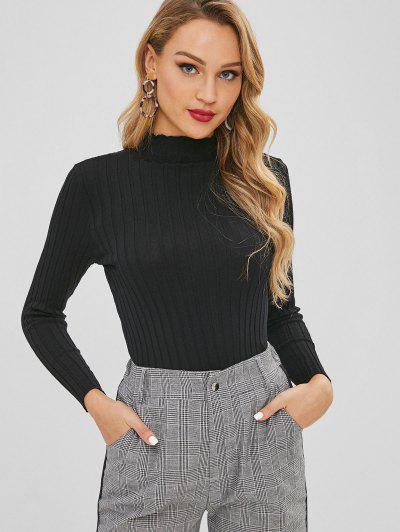 Slim Knit High Neck Sweater - Black