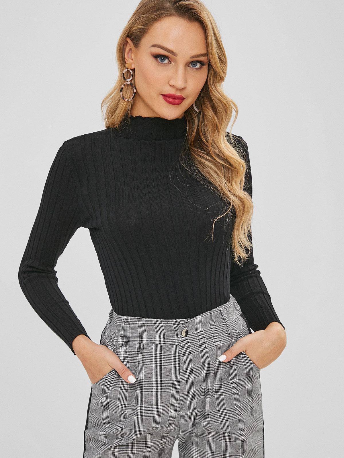 Slim Knit High Neck Sweater
