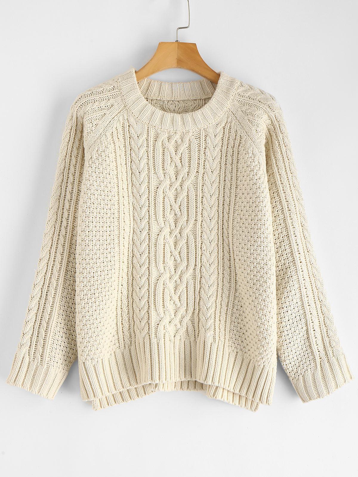 ZAFUL Slit Cable Knit Raglan Sleeve Sweater, Warm white