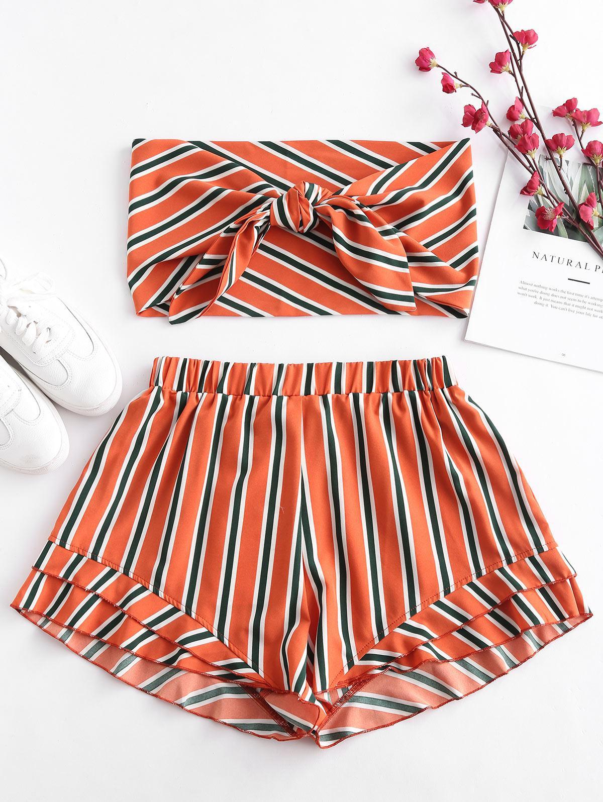ZAFUL Stripes Tie Front Bandeau Top Set