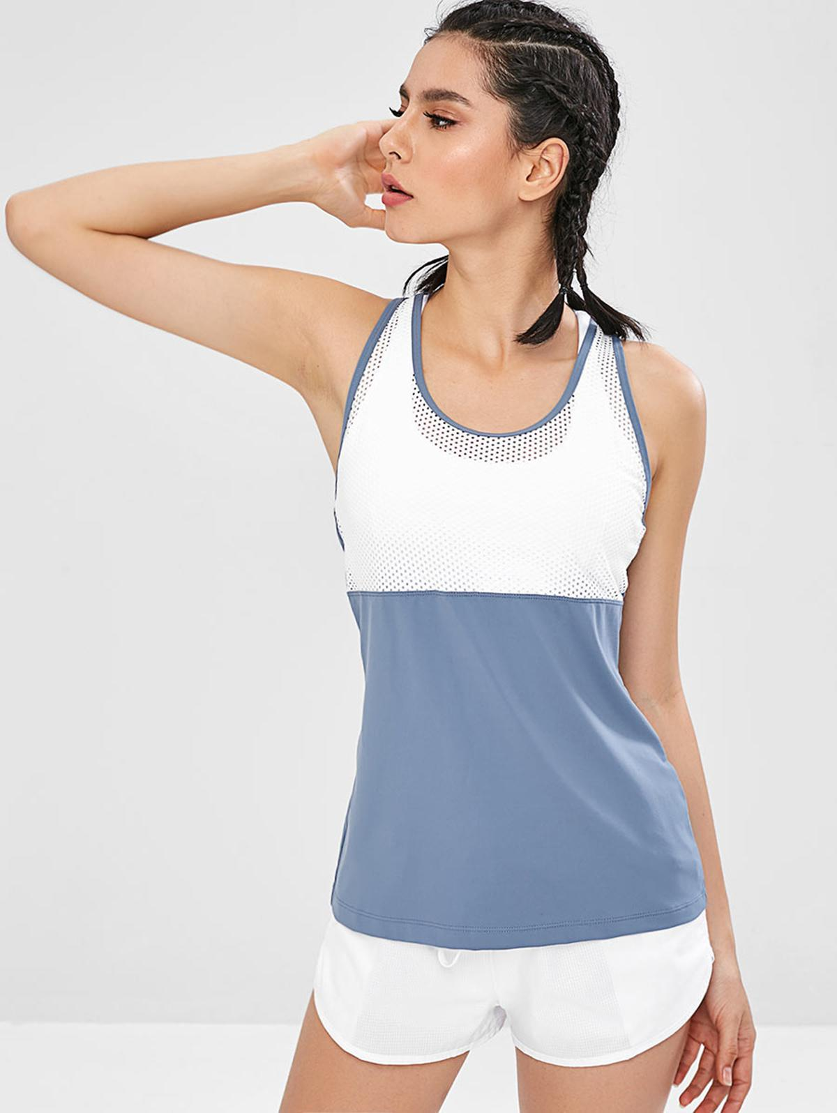 Color Block Hollow Out Racerback Tank Top, Blue gray