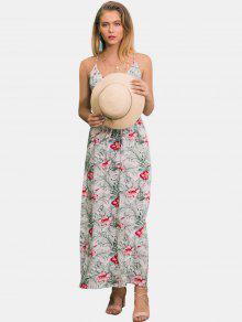 فستان بطبعات زهور - أبيض S