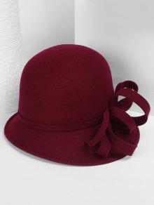 bdb749d9945e 41% OFF] 2019 Bowknot Design Wool Bucket Hat In RED WINE | ZAFUL