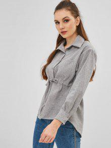 b67d5afd7d 49% OFF] 2019 Drawstring Pocket Tunic Blouse In CLOUDY GRAY | ZAFUL
